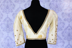 Buy cream embroidered designer sari blouse online in USA. Find your matching saree blouses for your beautiful Indian sarees in USA at Pure Elegance exclusive clothing store or shop online.-back