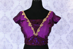 Buy purple embroidered designer saree blouse online in USA. Find your matching saree blouses for your beautiful Indian saris in USA at Pure Elegance exclusive clothing store or shop online.-front