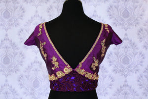 Buy purple embroidered designer saree blouse online in USA. Find your matching saree blouses for your beautiful Indian saris in USA at Pure Elegance exclusive clothing store or shop online.-back