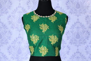 Buy green embroidered sleeveless sari blouse online in USA. Find matching designer saree blouses for your beautiful Indian sarees in USA at Pure Elegance exclusive clothing store or shop online.-front