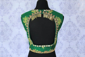 Buy green embroidered sleeveless sari blouse online in USA. Find matching designer saree blouses for your beautiful Indian sarees in USA at Pure Elegance exclusive clothing store or shop online.-back