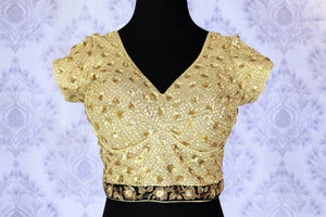 Flaunt the graceful diva in you as you slip into the jazzy golden embroidered floral sequin designer saree blouse. Take this ecstatic blouse to parties, special occasions, festivals and weddings. Shop such beautiful Indian designer blouses online or visit Pure Elegance store-front