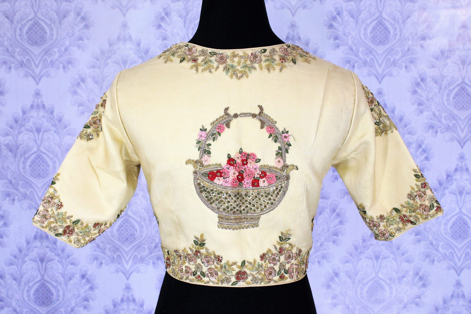 Shop Beige Floral Embroidered Designer Blouse Online In Usa,Minecraft Vending Machine Design