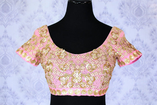 95846a3bbfd817 Shop Pink Sequin Work Embroidery Designer Fancy Saree Blouse Online