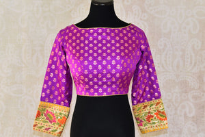Buy beautiful purple Banarasi saree blouse online in USA with zari buta. Enhance your traditonal Indian sarees by pairing with exquisite designer saree blouses from Pure Elegance Indian clothing store in USA.-full view