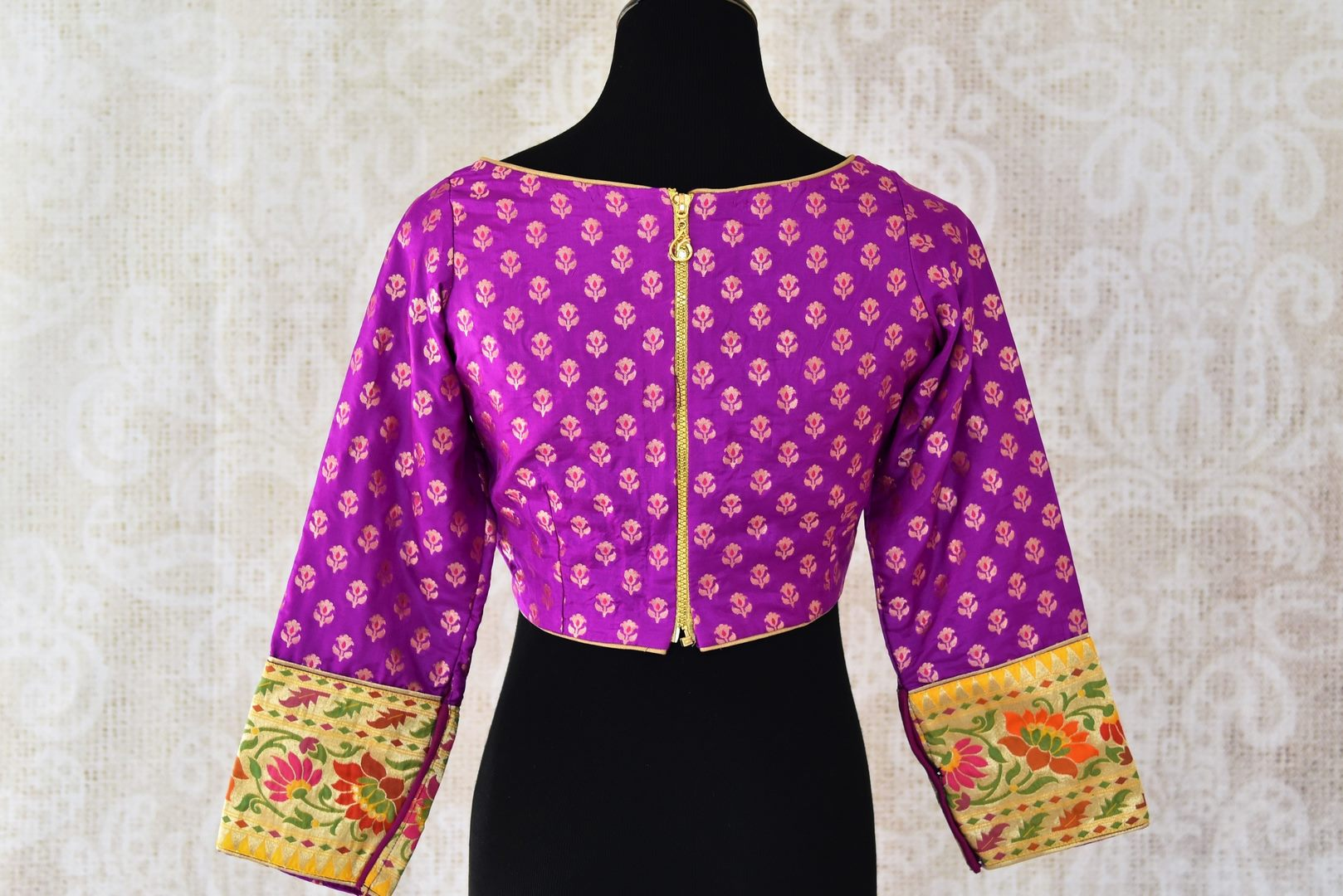 Buy beautiful purple Banarasi saree blouse online in USA with zari buta. Enhance your traditonal Indian sarees by pairing with exquisite designer saree blouses from Pure Elegance Indian clothing store in USA.-back