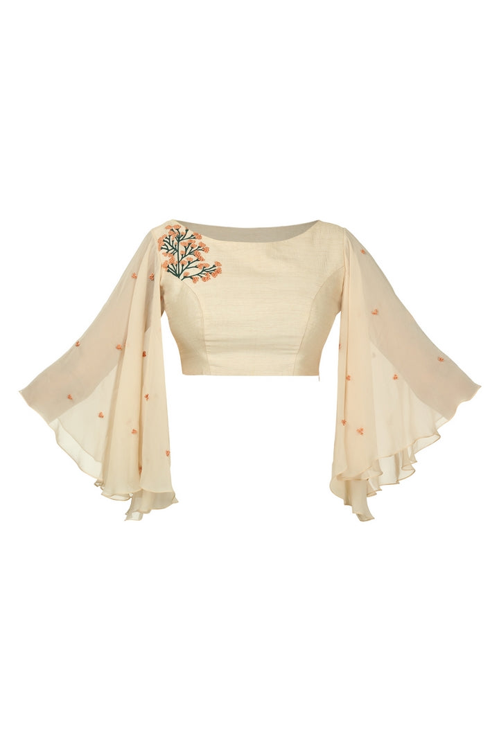 Buy beige raw silk angle sleeved blouse online in USA with shoulder embroidery. Match your designer sarees with stylish Indian readymade saree blouses available at Pure Elegance clothing store in USA or shop online.-full view