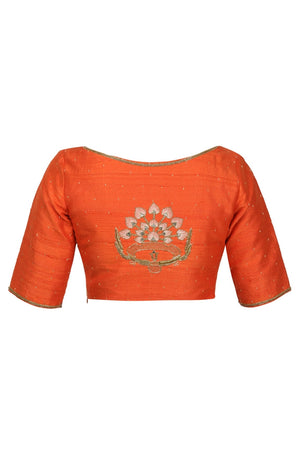 Buy orange raw silk saree blouse online in USA with hand embroidery. Match your designer sarees with stylish readymade sari blouses available at Pure Elegance clothing store in USA or shop online.-back