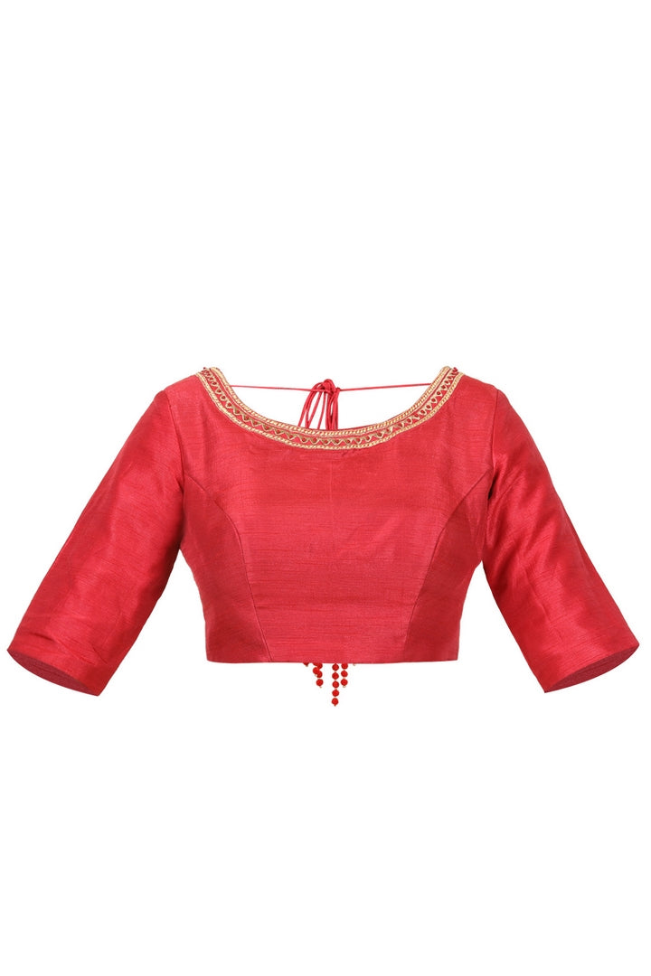 Buy red raw silk saree blouse online in USA with embroidery and block print. Take your saree style a level up with beautiful readymade sari blouses from Pure Elegance Indian fashion store in USA. You can also shop Indian clothing online from our online shopping website.-front