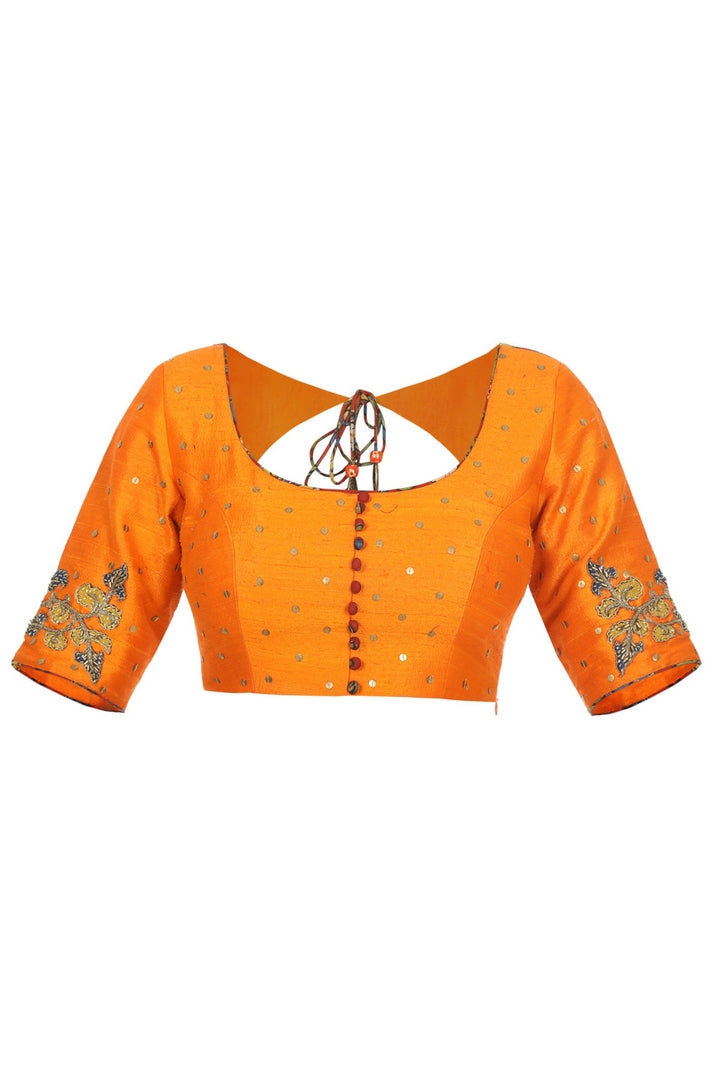 Shop designer orange raw silk Kalamkari sari blouse online in USA. Take your saree style a level up with beautiful readymade sari blouses from Pure Elegance Indian fashion store in USA. You can also shop Indian clothing online from our online shopping website.-front