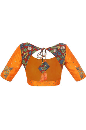 Shop designer orange raw silk Kalamkari sari blouse online in USA. Take your saree style a level up with beautiful readymade sari blouses from Pure Elegance Indian fashion store in USA. You can also shop Indian clothing online from our online shopping website.-back