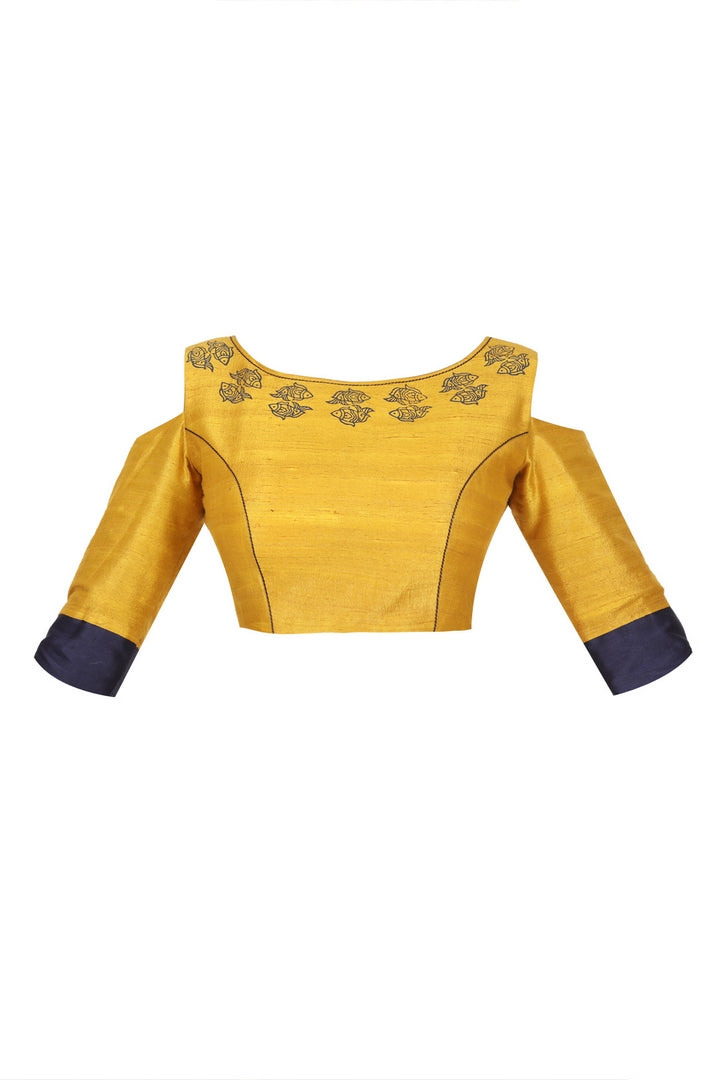 Buy mustard yellow and blue embroidered and block printed saree blouse online in USA. For a captivating style choose from a range of exquisite Indian clothing from Pure Elegance Indian clothing store in USA or shop online.-front