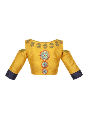 Buy mustard yellow and blue embroidered and block printed saree blouse online in USA. For a captivating style choose from a range of exquisite Indian clothing from Pure Elegance Indian clothing store in USA or shop online.-back