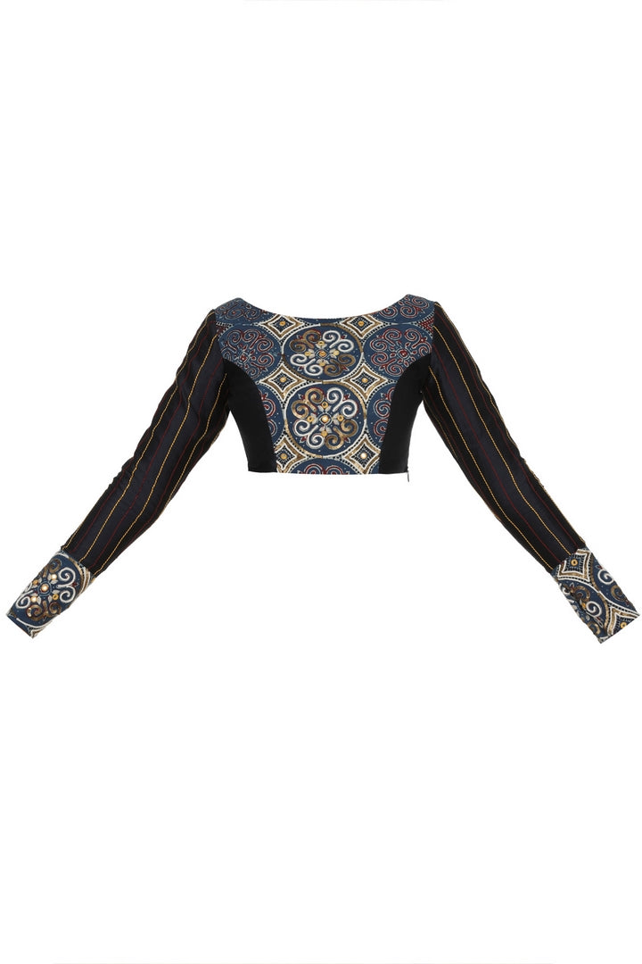 Buy black and blue Ajrakh print saree blouse online in USA with boat neckline. Make your designer sarees more attractive with a range of exquisite Indian saree blouses from Pure Elegance Indian clothing store in USA or shop online.-front
