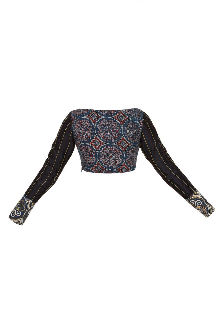 Buy black and blue Ajrakh print saree blouse online in USA with boat neckline. Make your designer sarees more attractive with a range of exquisite Indian saree blouses from Pure Elegance Indian clothing store in USA or shop online.-back