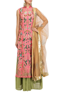 Buy peach embroidered floor-length silk jacket online in USA with green georgette skirt. Make your ethnic look absolutely captivating in Indian designer dresses from Pure Elegance exclusive Indian clothing store in USA or shop online.-full view