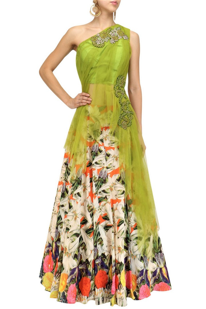 Buy lime green embroidered blouse with white floral skirt online in USA. Make your ethnic look absolutely captivating in Indian designer dresses, party dresses from Pure Elegance exclusive Indian clothing store in USA or shop online.-full view