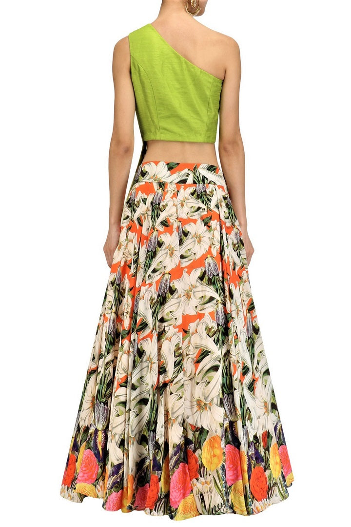 Buy lime green embroidered blouse with white floral skirt online in USA. Make your ethnic look absolutely captivating in Indian designer dresses, party dresses from Pure Elegance exclusive Indian clothing store in USA or shop online.-back