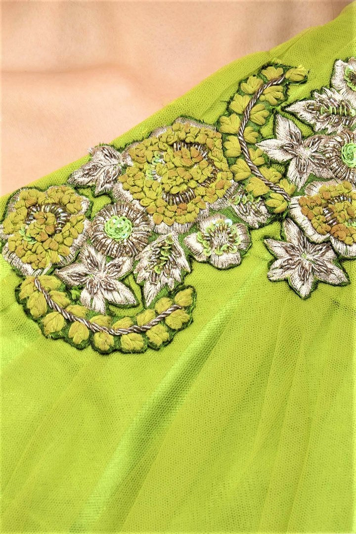 Buy lime green embroidered blouse with white floral skirt online in USA. Make your ethnic look absolutely captivating in Indian designer dresses, party dresses from Pure Elegance exclusive Indian clothing store in USA or shop online.-details