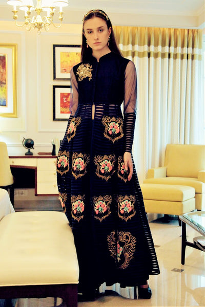 Buy designer royal blue embroidered flared gown online in USA. Bring a glamorous touch to your look in fashionable designer dresses, gowns from Pure Elegance clothing store in USA or shop online.-full view