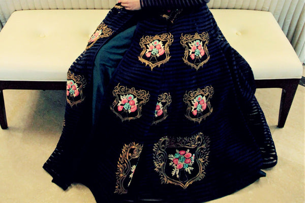 Buy designer royal blue embroidered flared gown online in USA. Bring a glamorous touch to your look in fashionable designer dresses, gowns from Pure Elegance clothing store in USA or shop online.-skirt