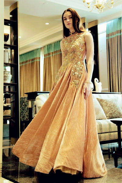 Buy peach embroidered velvet designer gown online in USA. Bring a glamorous touch to your look in fashionable designer dresses, gowns from Pure Elegance clothing store in USA or shop online.-full view