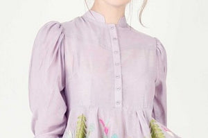 Buy stylish plum house story embroidered flared dress online in USA with puff sleeves. Bring a glamorous touch to your look in fashionable designer dresses, gowns, Indowestern dresses from Pure Elegance clothing store in USA or shop online.-top
