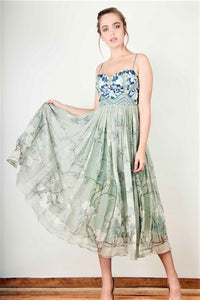 Buy sap green embroidered vintage summer maxi dress online in USA. Bring a glamorous touch to your look in fashionable designer dresses, gowns, Indowestern dresses from Pure Elegance clothing store in USA or shop online.-full view