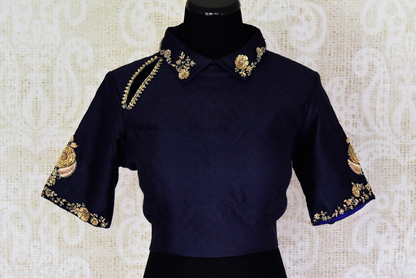 f7ea25f84052b2 Buy navy blue embroidered raw silk saree blouse online in USA. Match your  saree with