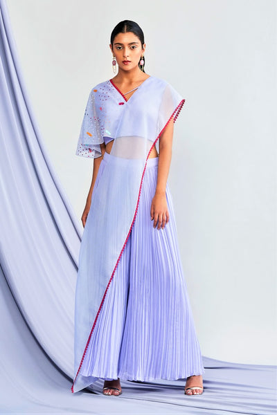 Buy Online Lavender Embroidered Top With Palazzo And Attached Drape