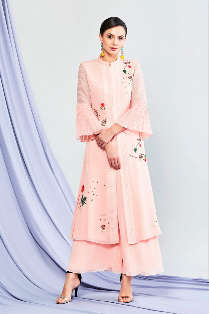 cab7644b4a6f Buy blush pink embroidered kurta with palazzo online in USA. Shop exclusive Indian  designer saris