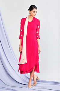 25b7f7ac7976 Buy designer red embroidered georgette drape midi dress online in USA.  Elevate your Indian style