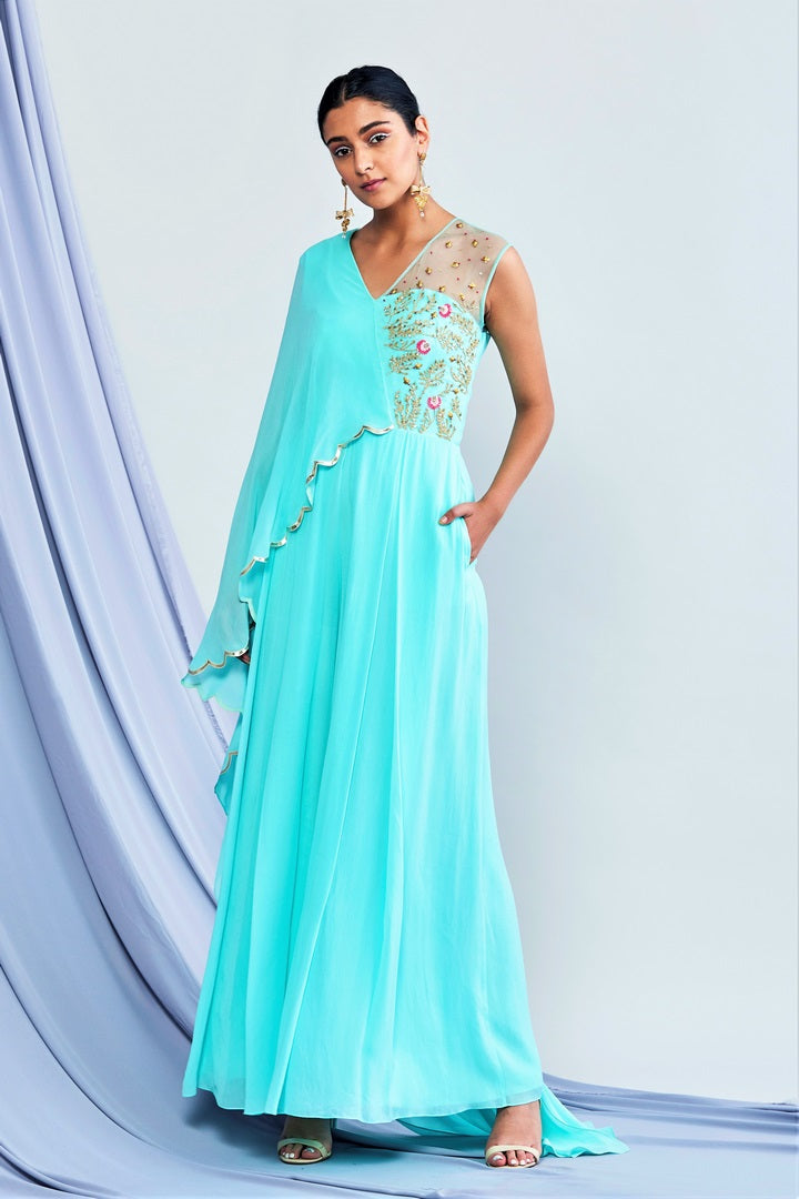 3bc10e4f6e9a Buy turquoise blue embroidered georgette jumpsuit online in USA with  attached drape. Elevate your Indian