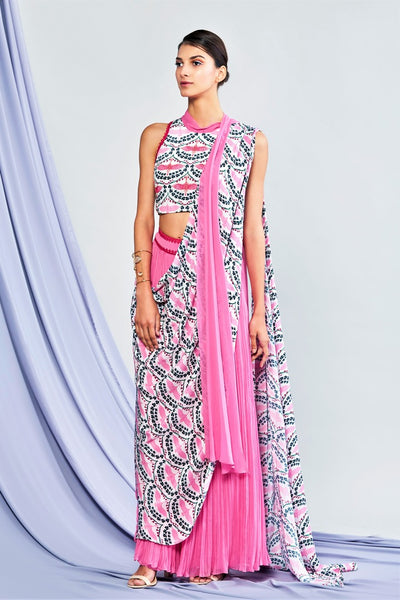 Buy pink draped palazzo saree with printed blouse online in USA. Elevate your Indian style with a range of exclusive Indian designer outfits from Pure Elegance clothing store in USA. We have an exquisite collection of Indian saris, suits, Anarkalis, lehengas for Indian women living in USA. Shop now. -full view
