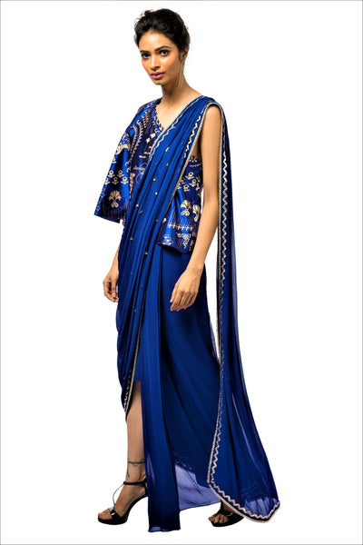 Buy blue embroidered georgette draped concept sari online in USA with blouse. Make a dazzling style statement at parties, weddings and festive occasions with a range of exquisite designer dresses, designer gowns, wedding lehengas available at Pure Elegance Indian clothing store in USA or on our online store.-full view