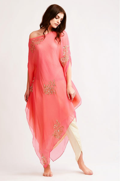 Buy pink embroidered chiffon drop shoulder tunic with dhoti pants online in USA. You can find a fine collection of Indian dresses in USA at Pure Elegance clothing store. Our range of traditional Indian clothing, designer silk saris, wedding sarees,  at our online store is sure to leave you awestruck. -full view