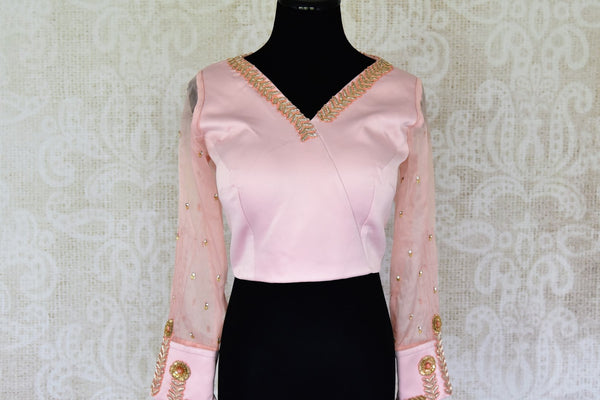 Buy powder pink embroidered silk blouse with sheer sleeves online in USA. For Indian women in USA, Pure Elegance fashion store brings an alluring collection of readymade sari blouses to match your beautiful Indian sarees. Shop now at our online store.-front