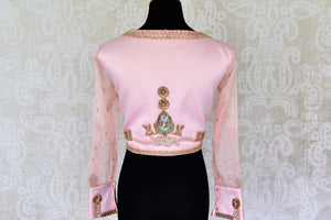 Buy powder pink embroidered silk blouse with sheer sleeves online in USA. For Indian women in USA, Pure Elegance fashion store brings an alluring collection of readymade sari blouses to match your beautiful Indian sarees. Shop now at our online store.-back