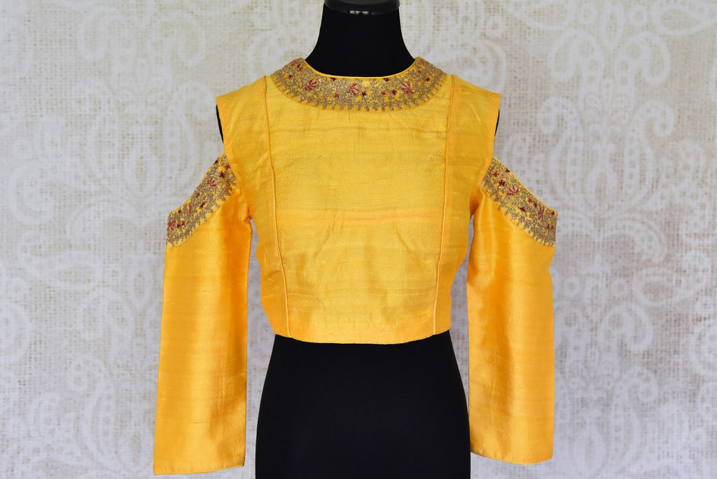 Shop yellow color embroidered cold shoulder silk sari blouse online in USA. For Indian women in USA, Pure Elegance fashion store brings an alluring collection of readymade saree blouses to match your beautiful Indian sarees. Shop now at our online store.-front
