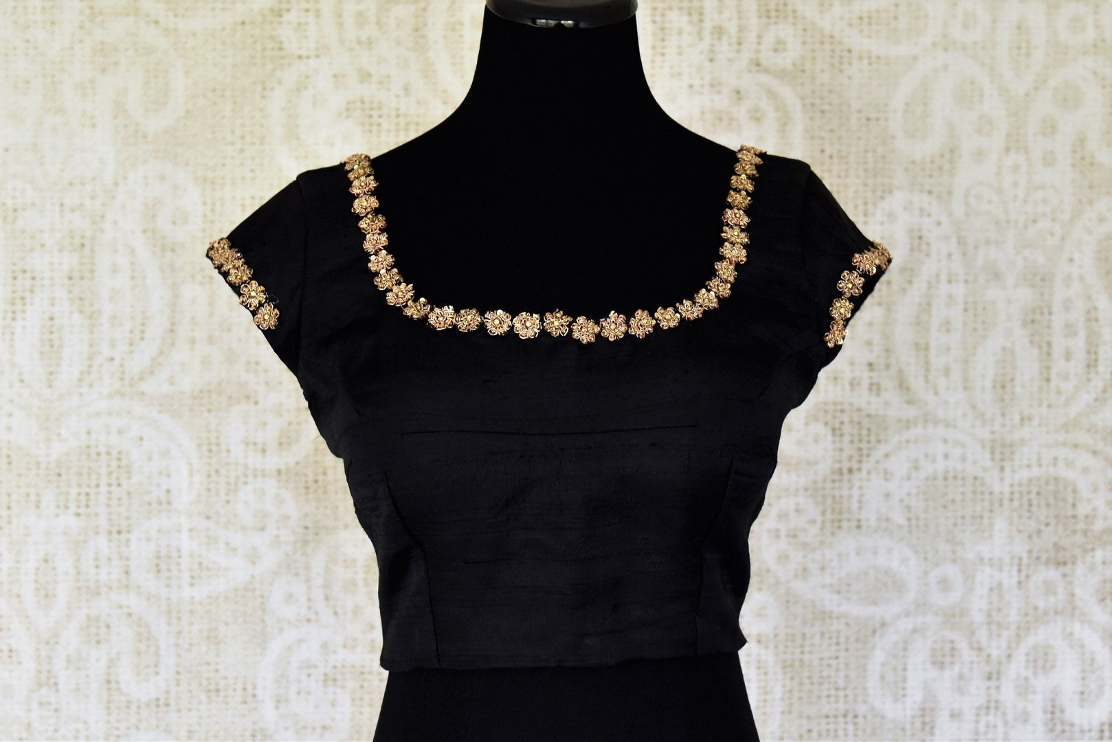 Shop black silk saree blouse with embroidery online in USA. For Indian women in USA, Pure Elegance fashion store brings an alluring collection of readymade saree blouses to match your beautiful Indian sarees. Shop now at our online store.-front