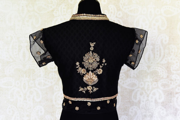 Buy black embroidered silk blouse with mandarin collar online in USA. For Indian women in USA, Pure Elegance fashion store brings an alluring collection of readymade saree blouses to match your beautiful Indian sarees. Shop now at our online store.-back
