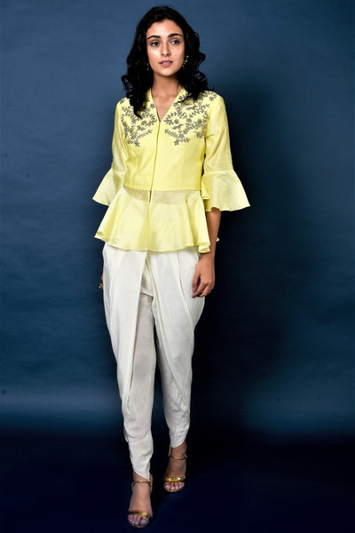 Buy lemon yellow chanderi top with cream dhoti pants online in USA. Elevate your ethnic style with a stunning range of Indian designer dresses from Pure Elegance Indian fashion store in USA. You can also shop the same collection from our online store.-full view