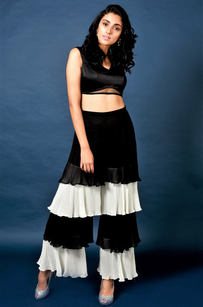 Buy black crop top with layered gypsy pants online in USA and embroidered jacket. Elevate your ethnic style with a stunning range of Indian designer dresses from Pure Elegance Indian fashion store in USA. You can also shop the same collection from our online store.-full view