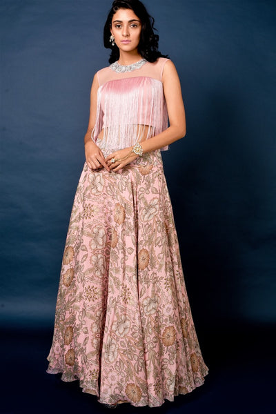 403385D Powder Pink Embroidered Blouse with Printed Flared Skirt