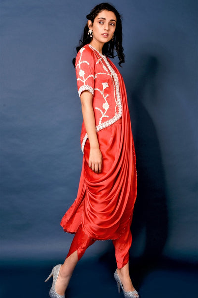 Buy red embroidered jacket with dhoti pants online in USA and attached saree drape. Elevate your ethnic style with a stunning range of Indian designer dresses from Pure Elegance Indian fashion store in USA. You can also shop the same collection from our online store.-full view