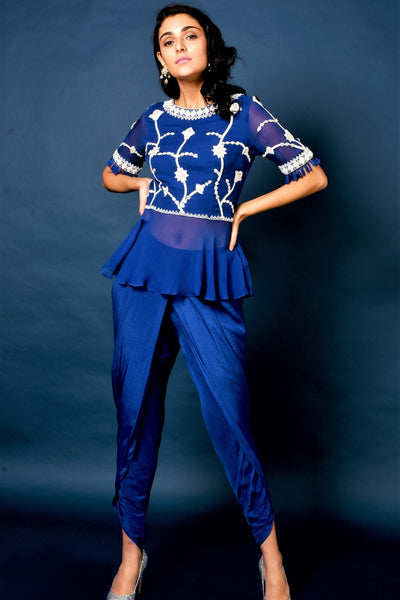 Buy blue embroidered top with dhoti pants online in USA. Elevate your ethnic style with a stunning range of Indian designer dresses from Pure Elegance Indian fashion store in USA. You can also shop the same collection from our online store.-full view