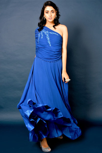 Buy blue embroidered one-shoulder gown online in USA. Elevate your style with a stunning range of designer dresses, designer gowns, designer Anarkali suits from Pure Elegance Indian fashion store in USA. You can also shop the same collection from our online store.-full view