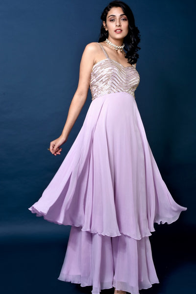 Buy lavender color tube work layered designer gown online in USA. Elevate your style with a stunning range of designer dresses, designer gowns, designer Anarkali suits from Pure Elegance Indian fashion store in USA. You can also shop the same collection from our online store.-full view
