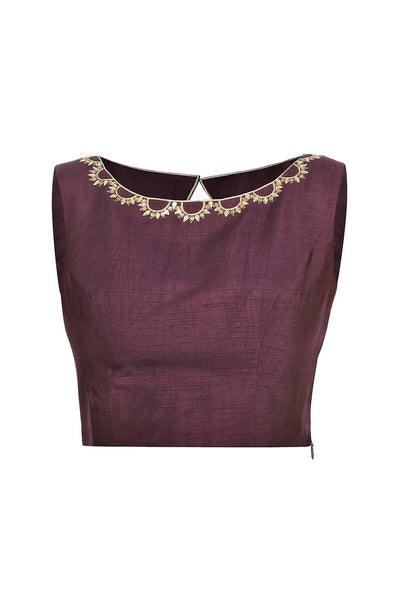 Buy purple sleeveless sari blouse with embroidery online in USA at Pure Elegance fashion store. Choose from a range of exquisite readymade designer sari blouses perfect to amp up your saree style. also available at our online store.-full view