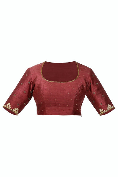 Buy burgundy color zardozi embroidery raw silk saree blouse online in USA from Pure Elegance fashion store. Choose from a range of exquisite readymade designer sari blouses perfect to amp up your saree style. also available at our online store.-full view